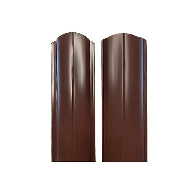 Евроштакетник радиусный 130х1500 RAL8017 двухсторонний шоколад