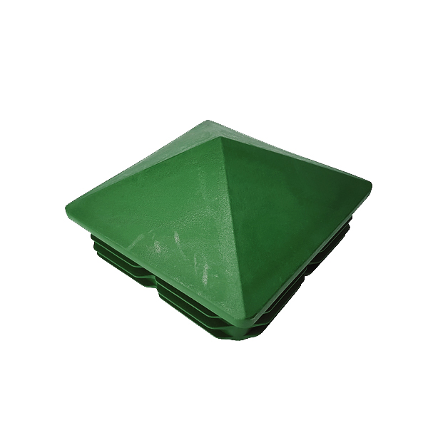 Заглушка для труб 100х100 пирамида зеленая